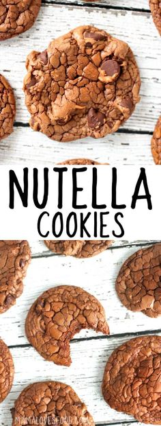 NUTELLA COOKIES - Nutella cookies are easy to make only four ingredients and might just be the best cookies youve ever had! NUTELLA COOKIES - Nutella cookies are easy to make only four ingredients and might just be the best cookies youve ever had! Nutella Cookies Easy, Chocolate Chip Shortbread Cookies, Yummy Cookies, Nutella Cookie Recipe, Nutella Bread, Nutella Brownies, Köstliche Desserts, Delicious Desserts, Dessert Recipes