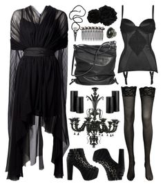 A fashion look from June 2014 featuring Louiza Babouryan gowns, Jeffrey Campbell boots и Ina Kent shoulder bags. Browse and shop related looks. Alternative Mode, Alternative Fashion, Dark Fashion, Gothic Fashion, Witch Fashion, Fashion Night, Mode Sombre, Gothic Lingerie, Witchy Outfit
