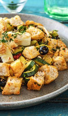 HelloFresh Rezept: In Mandeln panierter Hirtenkäse auf mediterranem Gemüse Brot Salat Kochen / Essen / Ernährung / Lecker / Kochbox / Zutaten / Gesund / Schnell / Frühling / Blog / Leicht / selber machen / backen / Brotsalat / Grillen / BBQ / Veggie / Vegetarisch / Feta / Käse #hellofreshde #kochen #essen #zubereiten #zutaten #diy #rezept #kochbox #ernährung #lecker #gesund #leicht #schnell #frühling #einfach #küche #gericht #selbermachen #backen #brot #brotsalat #feta #käse #grillen #bbq