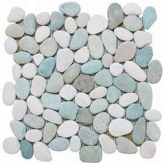 """Ocean Pebble Tile Natural 12"""" x 12"""" Apricot Tile"""