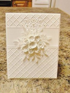 Paper: SU! Whisper White   Accessories: Sizzix ef, stylus, MFT rolled roses, MS branch and leaf punch, SU! Dazzling Diamonds, SU! pearls