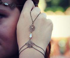 bridal jewlery crystal slave bracelet hand piece by alapopjewelry