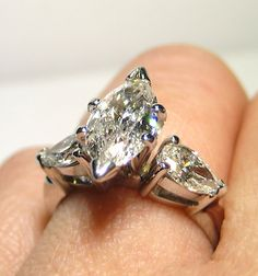 BAM!!!!!!!!!    1.76ct MARQUISE Cut 3 Stone DIAMOND ENGAGEMENT Wedding Ring With Pear Side Diamonds in 14k White Gold