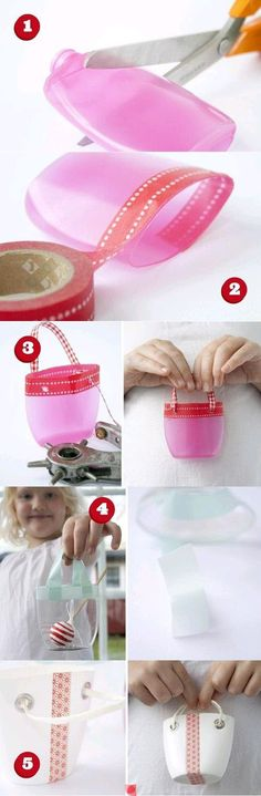 #Knutselen: van een lege fles een tasje maken. mini purse out of plastic bottle.