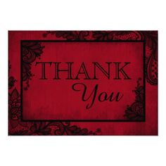 Gothic RSVP Cards Red Black Lace Gothic Wedding Thank You Card