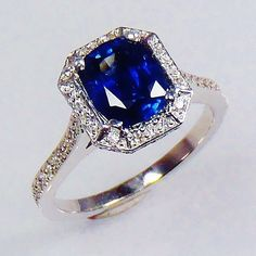 GIA Certified 18kt W/Gold 3.07 tcw Blue Cushion Natural Sapphire & Diamond Ring  Discover more at www.saphireringco.com