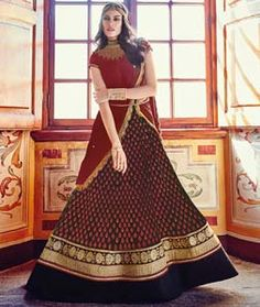 Buy Red Georgette Floor Length Anarkali Suit 76717 online at lowest price from huge collection of salwar kameez at Indianclothstore.com.