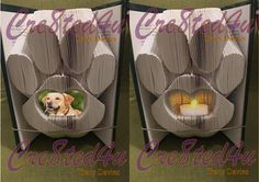 Animal Pet Paw with recess for battery tealight or photo combi book folding pattern Cut And Fold Books, Book Folding Patterns, Folded Book Art, Pet Paws, Book Gifts, Family Gifts, Tea Lights, Etsy Shop, Pets