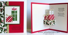 Julie's Stamping Spot -- Stampin' Up! Project Ideas by Julie Davison: VIDEO: Christmas Pop Up Presents Card Tutorial Pop Up Christmas Cards, Christmas Pops, Christmas Card Template, Christmas Card Crafts, Stampin Up Christmas, Xmas Cards, Christmas 2015, Christmas Projects, Fun Fold Cards