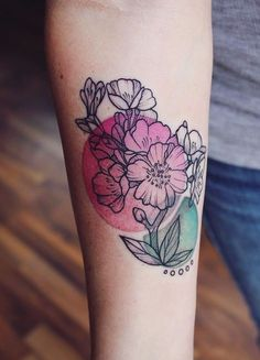 Cherry blossom watercolor tattoo