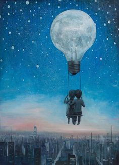 Couple sitting on a swing tied to a lightbulb surreal art