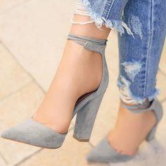 ideservenewshoesblog: Editors Peak - Grey Heels By Lolashoetique