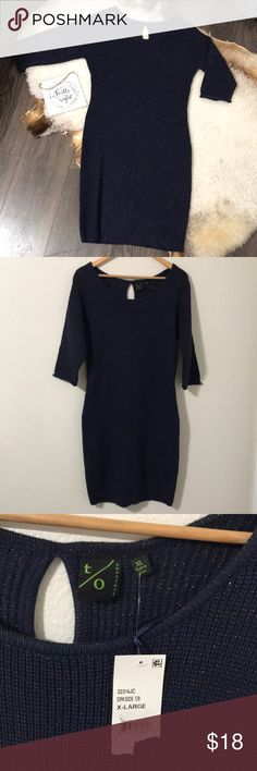 """T/O Sweaters 3/4 Sleeves Metallic Sweater Dress XL Brand new with tags, Navy blue with Metallic sweater dress back small peep hole on the back, it hits a little bellow the knee (5'4"""" person). Warm great layering piece. From a pet and smoke free home. T/O Sweaters Dresses Midi"""