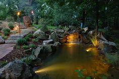 Attractive Lighting In Garden Pond