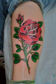Old school red #rose #tattoo - #tattoos