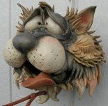 *Douglas Fey - unglazed ceramic cat birdhouse