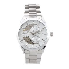 DayBird Auto Mechanical Steel Wrist Watch with Week Display - Silver + White -- Awesome products selected by Anna Churchill