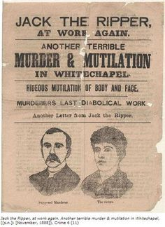 1888 Jack the Ripper pamphlet in Whitechapel