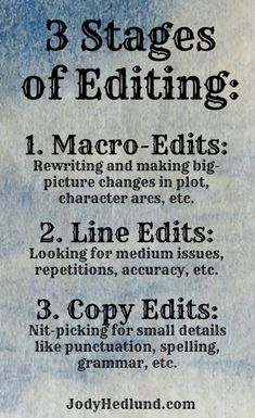 3 Stages of Editing #WriteTips #AmWriting #Writing