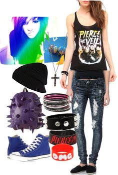 A fashion look from March 2013 featuring shirt top, denim skinny jeans and metallic sneakers. Browse and shop related looks. Band Outfits, Scene Outfits, Grunge Outfits, Cool Outfits, Pastel Goth Fashion, Punk Fashion, Rocker Girl, Cooler Look, Alternative Fashion
