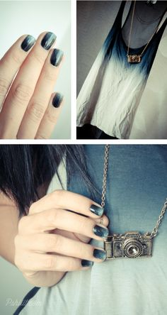 Beautiful blue-grey gradient nails