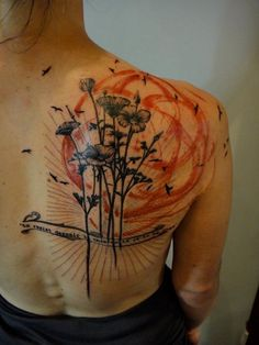 Xoil Tattoo: Black and red flowers