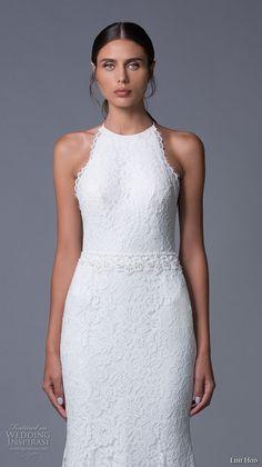 lihi hod 2017 bridal sleeveless halter neck full embellishment classy elegant lace trumpet mermaid wedding dress sweep train (lauren) zv