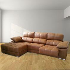Avec son revêtement Vitello Camel, le canapé d'angle Noa allie élégance et confort. #canape #angle #vitello