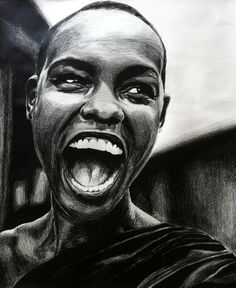 black and white colored pencil drawing