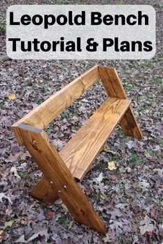 In this tutorial, learn step-by-step how to make a Leopold Bench. The design is by Aldo Leopold, who& considered the father of modern ecology. This is a simple but elegant bench. Will look great on a back porch, beside a trail, or around a fire pit. Diy Bench, Diy Chair, Patio Bench, Bench Vise, Beginner Woodworking Projects, Woodworking Bench, Woodworking Classes, Easy Woodworking Ideas, Woodworking Videos