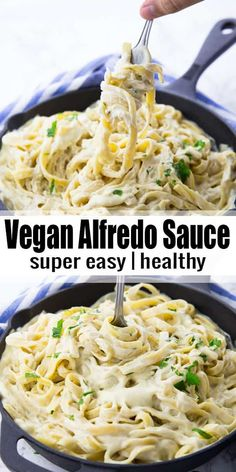 vegan Alfredo sauce is the perfect comfort food! It's so incredibly creamy . This vegan Alfredo sauce is the perfect comfort food! It's so incredibly creamy .This vegan Alfredo sauce is the perfect comfort food! It's so incredibly creamy . Vegan Dinner Recipes, Vegan Dinners, Whole Food Recipes, Vegetarian Recipes, Healthy Recipes, Salad Recipes, Vegan Vegetarian, Veg Recipes, Recipes With Tahini Vegan