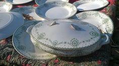 Set of 10 pieces Verbena Green Ironstone #Plates and one Tureen- Lovely vintage 1890's Art Nouveau Monochrome decor - Signed on the reverse : Creil Montereau Labrador Bruxel... #antiquedecor #victorian #antiques #homedecor #porcelain #plates