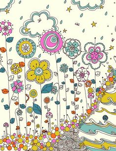 Drawing Doodles Ideas Colorful and so happy. By Rebekah Ginda, textile and surface designer. Kunstjournal Inspiration, Art Journal Inspiration, Illustration Photo, Illustrations, Zen Doodle, Doodle Art, Textile Patterns, Print Patterns, Flower Doodles