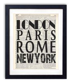 London Paris Rome New York Typography Print by RetroBookArt, $6.99