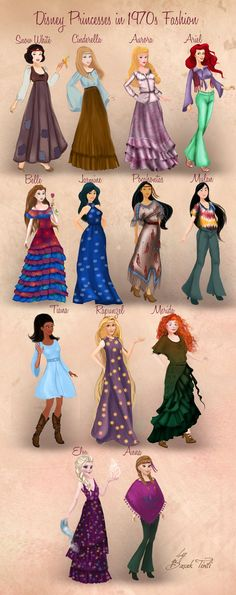 Disney Princesses in 1970s Fashion by Basak Tinli by BasakTinli