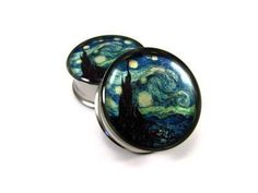 Starry Night Picture Plugs gauges - 2g, 0g, 00g, 7/16, 1/2, 9/16, 5/8, 3/4, 7/8, 1 inch. $19.99, via Etsy.