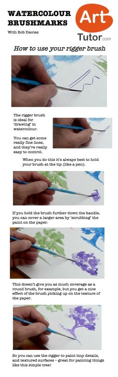 How to use your rigger brush in watercolour. For more watercolour tips and techniques, and to see the video of this lesson, go to www.arttutor.com/blog #watercolour