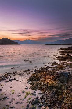 Cullin mountains from Elgol beach at sunset, Isle of Syke, Scotland