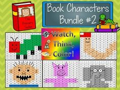 Watch, Think, Color! Students watch the board, think about the clues to figure out the number, and color the spot indicated. When they are finished, they have made a picture. This bundle includes designs to inspired by some of our favorite picture book characters! Add a little math practice to you... David Shannon, Counting Coins, Powerpoint Games, Mo Willems, Color Games, Author Studies, Math Practices, Very Hungry Caterpillar, Interactive Notebooks