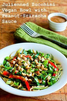 Recipe for Julienned Zucchini Vegan Bowl with Peanut-Sriracha Sauce; I made this before I had a #Spiralizer, but now I'd use that for the zucchini! [from KalynsKitchen.com] #GlutenFree #LowCarb #Vegan