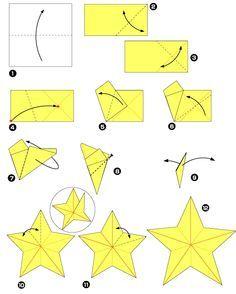 Diagramme d'origami d'étoile à cinq branches, pour un mobile pour bébé