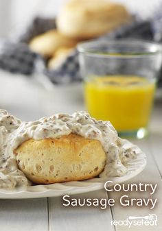 Country sausage in a creamy white gravy-great over biscuits! Breakfast For Dinner, Breakfast Recipes, Sausage Gravy, Creamy White, Biscuits, Yummy Food, Meals, Country, Sauces