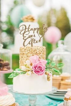 """Cake Topper for Wedding """"Happily Ever After"""" Design - Glitter Cake Topper in Calligraphy Style for P"""