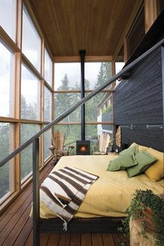 "Home Interior Design — Cozy Bedroom…Expansive Views - ""Stone Creek Camp"". Cozy Bedroom, Dream Bedroom, Bedroom Decor, Bedroom Storage, Bedroom Ideas, Bedroom Windows, Scandinavian Bedroom, Design Bedroom, 1930s Bedroom"