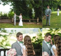 Bride and groom first look. Love this moment! He's crying, how sweet! Click to view more of these vintage wedding photos at the Historic Bleak House Knoxville TN!