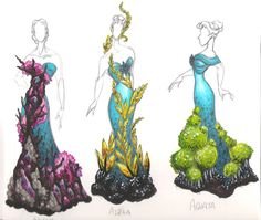 Costumes for an ensemble of mermaid puppeteers dressed as a coral reef. Sea Weed Part One Winchester, Textiles Sketchbook, Sea Dress, Coral Fashion, Mermaid Parade, Coral Art, Dress Sketches, Dress Drawing, Fantasy Costumes
