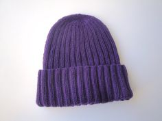 Women's Cashmere Hat Royal Purple Hand Knit Beanie by Girlpower