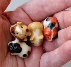 Terrarium Guinea Pig Cavy Handmade Figurine-set of 4 LOVE THEM! Can't you hear them whistling?