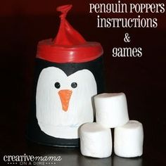 Celabration décoration de table 20 fête de noël poppers penguin kids fun