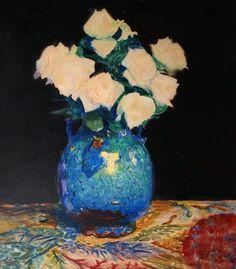 Leon Wyczolkowski - Flowers in vase Still Life 2, Vienna Secession, Social Art, Classic Paintings, Impressionism, Flower Art, Poland, Art Nouveau, Floral